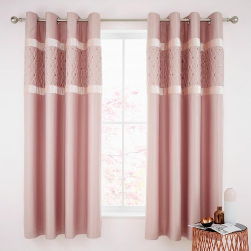 Catherine Lansfield Sequin Cluster Blush Eyelet Curtains